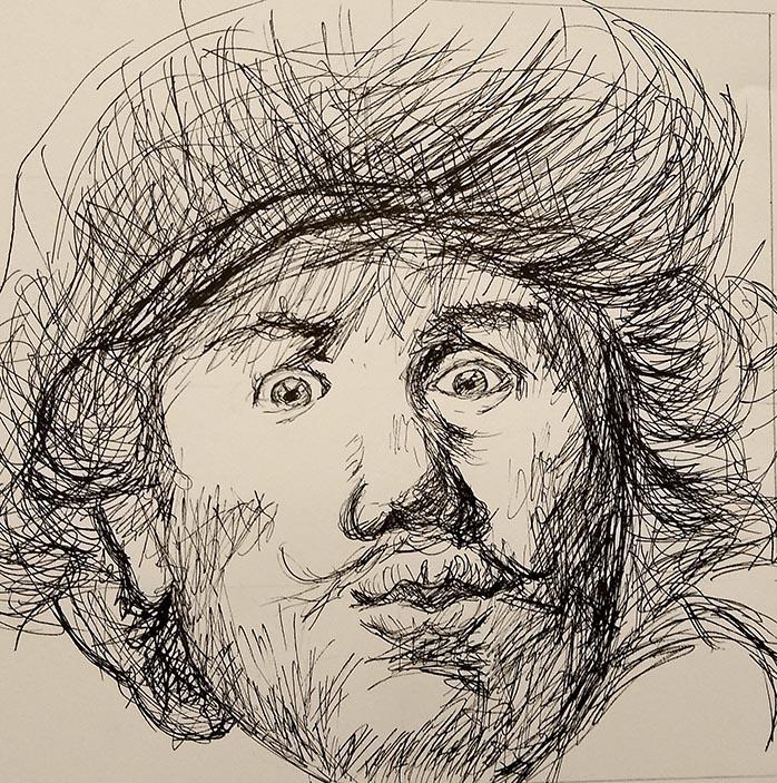 tekening naar Rembrandt door Bastiaan Schwaneberg